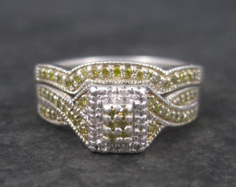 Vintage Sterling Yellow Diamond Engagement Wedding Bridal Ring Set Size 7