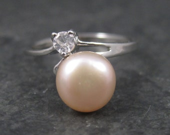 Vintage 90s Sterling Pearl Ring Size 6