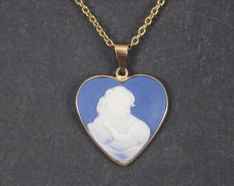 Vintage Wedgwood Style 10K Mother and Child Heart Pendant