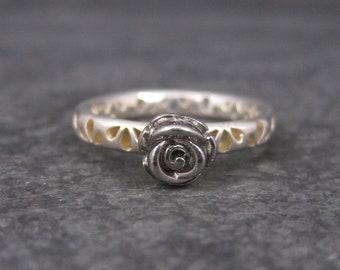 Vintage Sterling Rose Ring Size 6.5