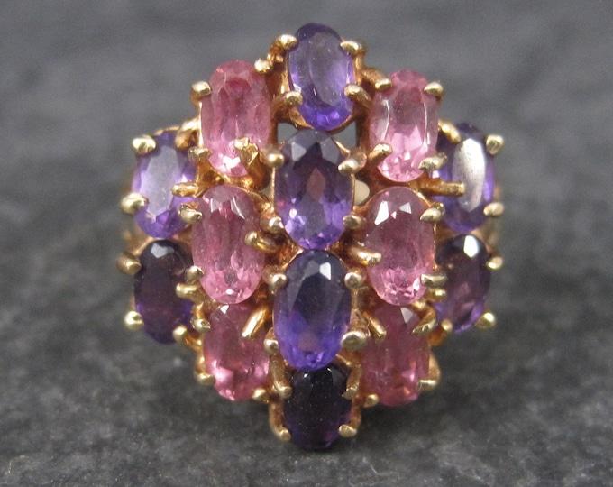 Vintage 10K Pink Topaz Amethyst Cluster Ring Size 7