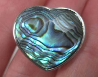 1990s Sterling Abalone Heart Ring Size 7