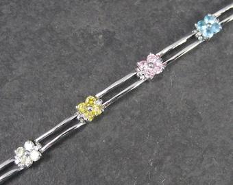 Vintage 90s Sterling Multi Stone Flower Bracelet 7 Inches