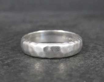 Retro Vintage Hammered Sterling Silver Band Ring Size 9
