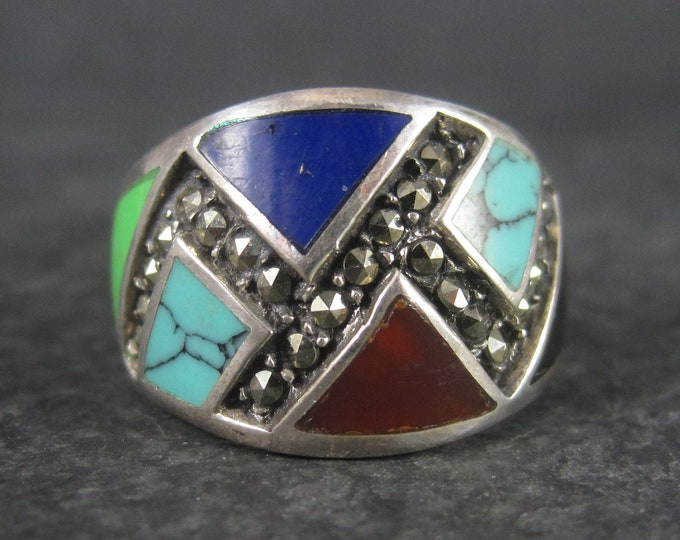 Wide Vintage Marcasite Inlay Band Ring Sterling Size 8