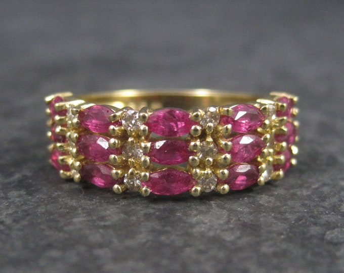 Vintage 14K Marquise Ruby Diamond Ring Size 6.5