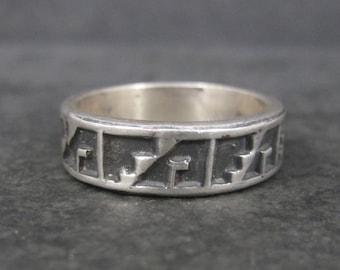 Vintage Sterling Tribal Band Ring Size 10