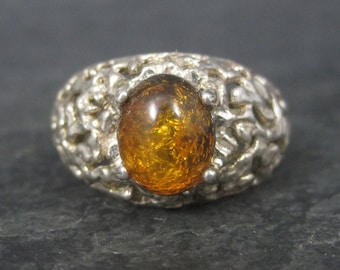 Vintage Sterling Nugget Style Amber Ring Size 9
