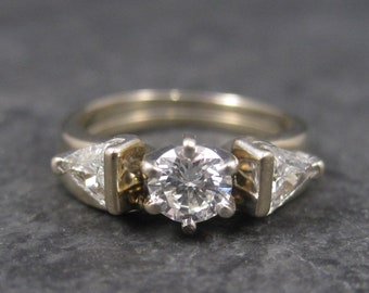 Vintage 18K 1 Carat Diamond Wedding Set Size 4