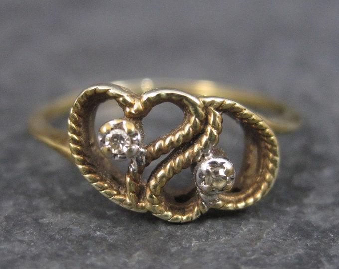 Vintage Dainty 10K Diamond Heart Ring Size 6.5