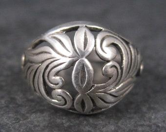Vintage Filigree Dome Leaf Ring Sterling Size 9