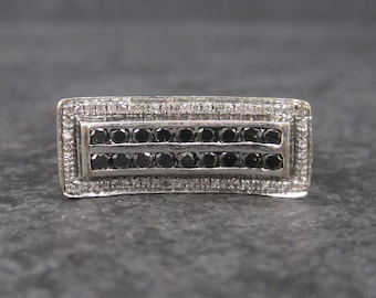 Vintage White Gold .64 Ctw Black and White Diamond Ring Size 8.5