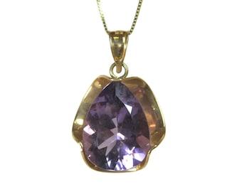 Large 14K 7 Carat Amethyst Pendant Necklace