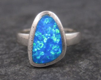 Vintage Faux Blue Opal Ring Sterling Size 8