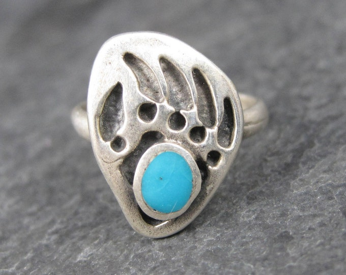 Vintage Southwestern Sterling Turquoise Bear Paw Ring Size 4.5