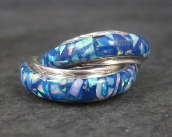 Vintage Sterling Mosaic Opal Half Hoop Earrings