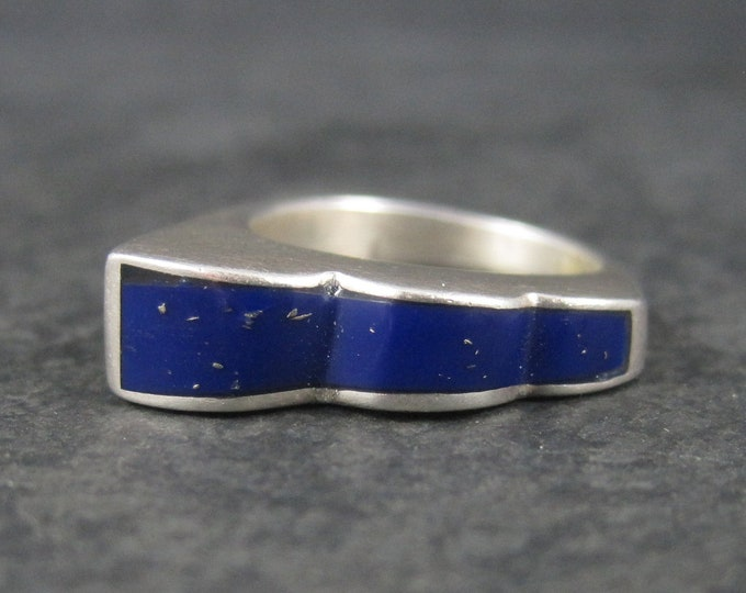 Vintage Sterling Graduated Lapis Inlay Ring Size 6.5