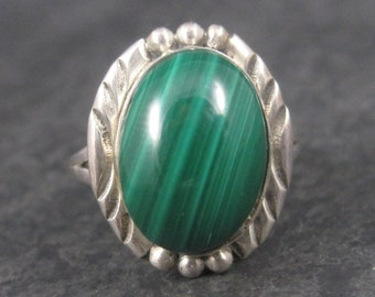 Vintage Navajo Sterling Malachite Ring Size 7