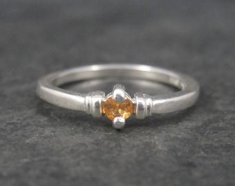 Dainty Vintage Sterling Orange Sapphire Ring Size 6.5