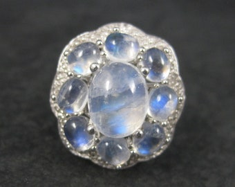 Sterling Rainbow Moonstone Halo Ring Size 10