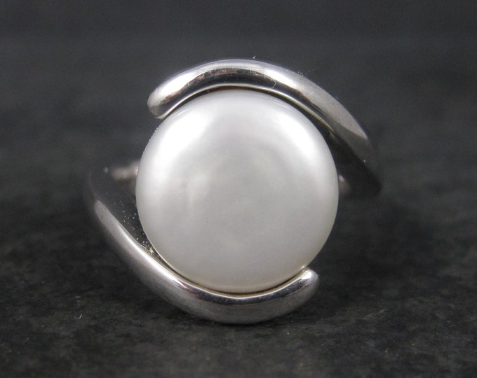 Sterling Coin Pearl Ring Size 8