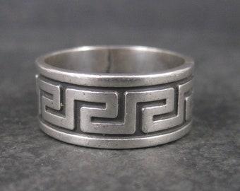 Vintage Sterling Greek Key Ring Size 10