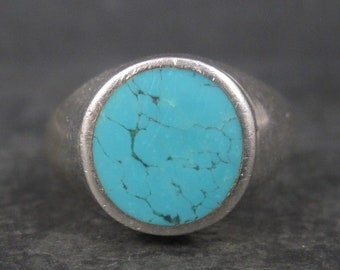 Mens Vintage Sterling Turquoise Ring Size 13.5