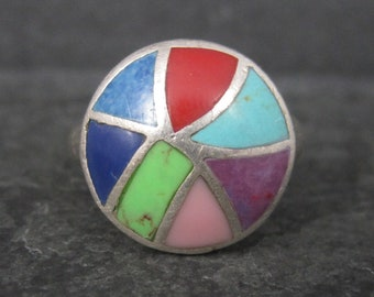Vintage Sterling Multi Stone Inlay Ring Size 7.25