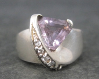 Vintage Sterling Trillion Cut Amethyst Cz Ring Size 8