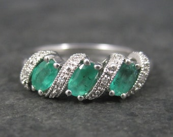 Classic Vintage Sterling Emerald Ring Size 8