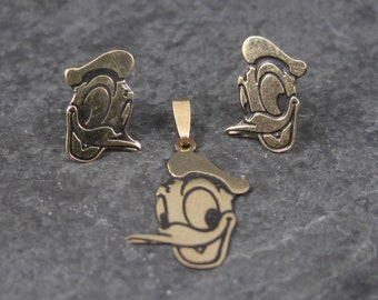 Dainty Vintage 14K Disney Donald Duck Pendant and Earrings Jewelry Set