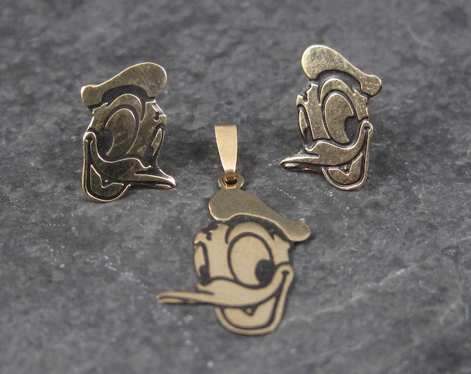 Dainty Vintage 14K Disney Donald Duck Pendant and Earrings Jewelry Set