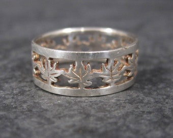 Vintage Sterling Marijuana Leaf Band Ring Size 5