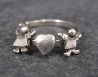 Vintage Sterling Boy and Girl Ring Size 7 Mothers Grandmothers Siblings