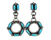 Vintage Zuni Turquoise Dangle Earrings