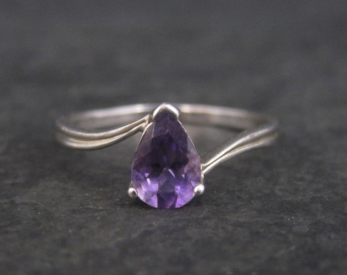 Vintage Sterling Pear Cut Amethyst Ring Size 8