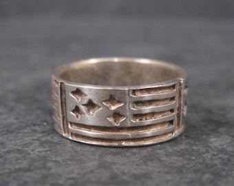 Wide Vintage Sterling Flag Band Ring Size 5
