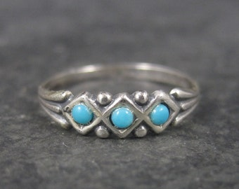 Dainty Antique Sterling Faux Turquoise Ring Size 5