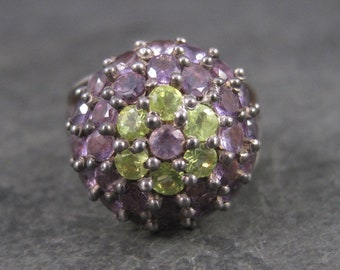 Vintage 90s Amethyst Peridot Dome Ring Sterling Silver 3.40 Carats Size 7