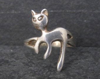 Vintage Sterling Cat Ring Size 5.5