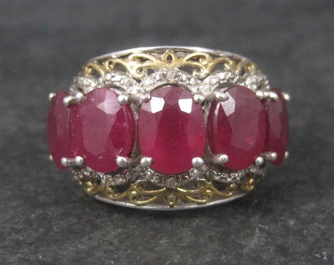 Huge Vintage Sterling 15 Carat 5 Ruby Ring Size 8