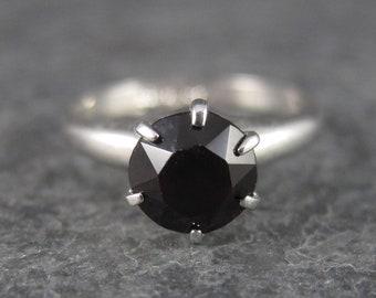 Vintage Sterling Garnet Solitaire Ring Size 5