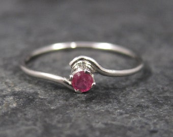 Dainty Sterling Minimalist Ruby Ring Size 5.25