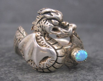 Vintage Sterling Opal Dragon Ring Size 13