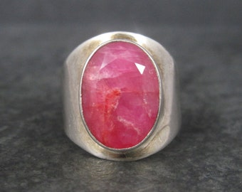 Vintage 90s Sterling Raw Ruby Ring Size 7.25