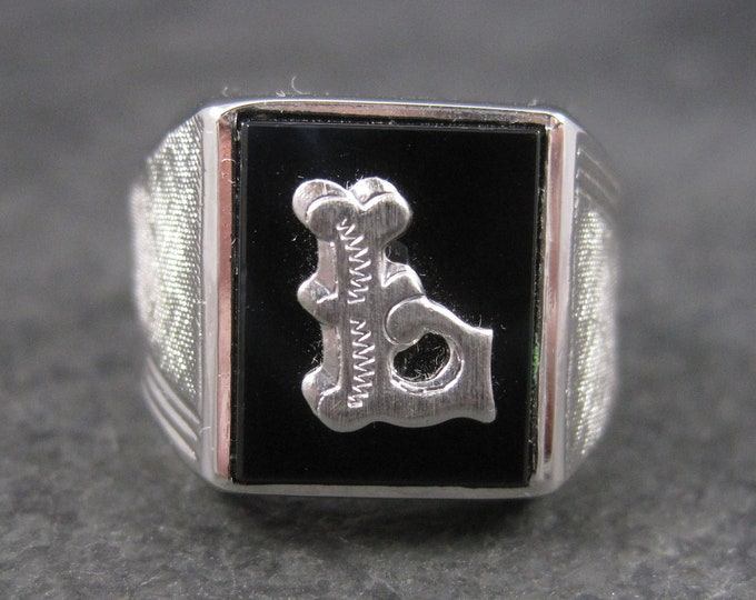 Vintage Sterling Onyx Initial L Ring Size 7 New Old Stock