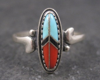 Dainty Vintage Southwestern Sterling Inlay Peace Sign Ring Size 5