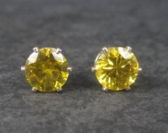 Yellow Birthstone Sterling Stud Earrings 8mm