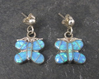 Vintage Southwestern Sterling Opal Inlay Butterfly Earrings