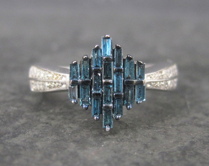 Sterling Blue White Diamond Ring Size 7